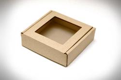 Коробка для пряників, печива з віконцем 100х100х30 мм бура