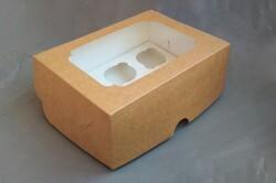 Упаковка на 6 кексов крафт с окошком 255х190х100