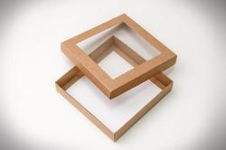 """Коробка для печива, пряників з віконцем 150х150х30 мм крафт картон """"кришка-дно"""""""