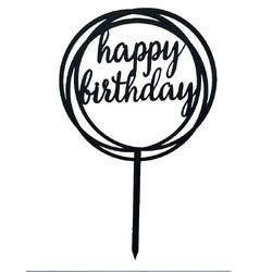 Топпер Happy Birthday круг черный 12 см