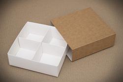 Универсальна коробка Крафт 160х160х55 мм для печенья, зефира, конфет, макаронсов и прочего, тип пенал с ложементом