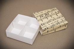 Универсальна коробка Ноты 160х160х55 мм для печенья, зефира, конфет, макаронсов и прочего, тип пенал с ложементом
