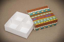 Универсальна коробка Этно 160х160х55 мм для печенья, зефира, конфет, макаронсов и прочего, тип пенал с ложементом