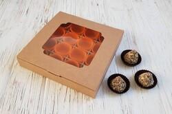 Коробка для конфет 185х185х30 на 16 штук с окном крафт