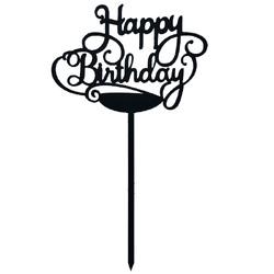 Топпер Happy Birthday чорний 12,5х9 см
