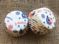 Форма для кексів Новий рік №2 50х30 50шт. (Червоно-синій)