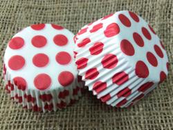 Форма для кексов Горошек 50х30 50шт.(красный)