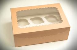 Упаковка на 6 кексов Персиковая с окошком 255х90х170мм