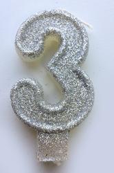 """Свеча цифра """"3"""" с блестками серебро"""