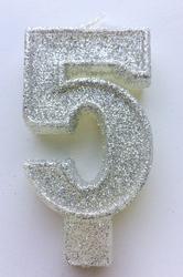 """Свеча цифра """"5"""" с блестками серебро"""
