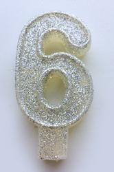"""Свічка цифра """"6"""" з блискітками срібло"""