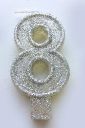 """Свічка цифра """"8"""" з блискітками срібло"""