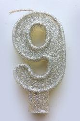 """Свеча цифра """"9"""" с блестками серебро"""