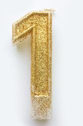 """Свічка цифра """"1"""" з блискітками золото"""