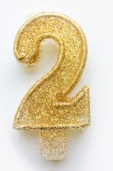 """Свічка цифра """"2"""" з блискітками золото"""