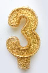 """Свічка цифра """"3"""" з блискітками золото"""