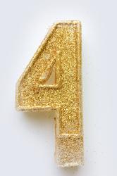 """Свеча цифра """"4"""" с блестками золото"""