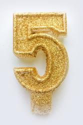 """Свічка цифра """"5"""" з блискітками золото"""