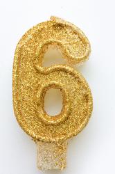"""Свічка цифра """"6"""" з блискітками золото"""