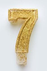 """Свічка цифра """"7"""" з блискітками золото"""