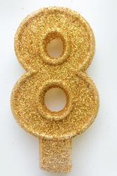 """Свічка цифра """"8"""" з блискітками золото"""