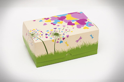 """Коробка-контейнер для тортов, чизкейков, пирожных """"Сердца"""" 180*120*80 мм"""