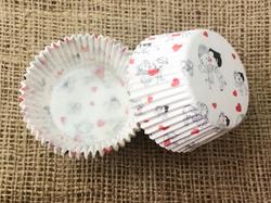 """Форма для кексів """"Весілля - 2"""" 50х30 50шт. (Червоно-чорний)"""