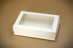 Коробка для еклеров, зефира, печенья и прочих десертов 230*150*60 мм с окном белый мелованный картон