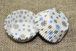 Форма для кексов Зима 50х30 50шт.(золото-синяя)