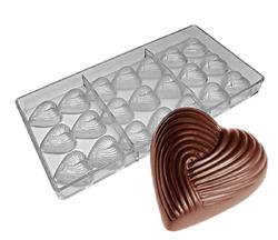 Поликарбонатная форма для конфет Сердце 21 шт.