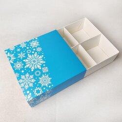 Универсальна коробка Новогодняя синяя 160х160х55 мм для печенья, зефира, конфет, макаронсов и прочего, тип пенал с ложементом