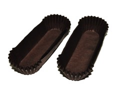 Форма овальная для эклеров, пирожных - коричневая 130х30x35 50шт.
