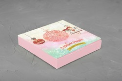 Коробка для конфет 185х185х30 Новогодняя №2 на 16 шт