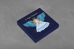 Коробка для конфет 185х185х30 Новогодняя №3 на 16 шт(Ангелочек)