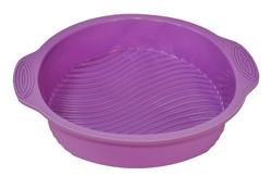 Форма силиконовая для выпечки круглая диаметр 22 см рифленое дно с ручками