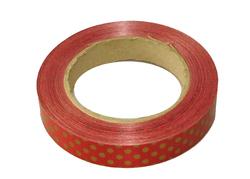 Декоративная лента 2*50 цвет Красная в золотой горошек