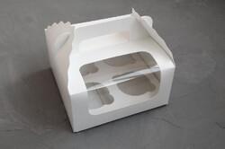 Коробка на 4 кекси 170х170х85 з ручкою біла