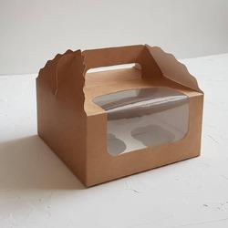 Коробка на 4 кекси 170х170х85 з ручкою крафт
