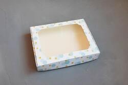 Коробка для пряників з віконцем 200х150х30 мм Блакитна