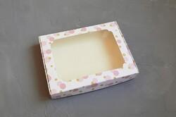 Коробка для пряників з віконцем 200х150х30 мм Рожева