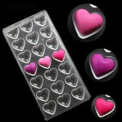 Поликарбонатная форма для конфет Сердца гладкие 21 шт.
