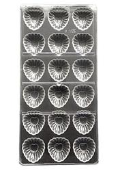 Поликарбонатная форма для конфет Ажурная с сердцами 18 шт