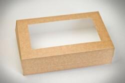 Коробка для еклерів, зефіру, печива та інших десертів 230 * 150 * 60 мм з вікном крафт картон