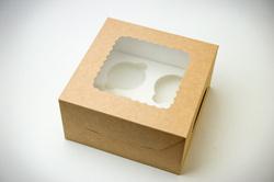 Упаковка на 4 кекси з віконцем 170х90х170 крафт картон