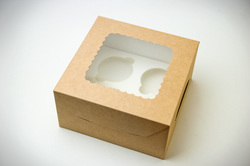 Упаковка на 4 кекса с окошком 170х90х170 крафт картон