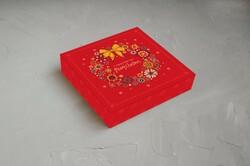 """Коробка для конфет 185х185х30 Новогодняя №4 """"Бантик"""""""