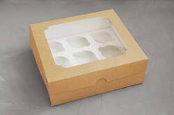 Упаковка на 9 кексов №3 250*240*90 с окошком крафт картон