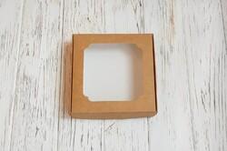 Коробка для солодощів з віконцем 150х150х30 мм крафт картон