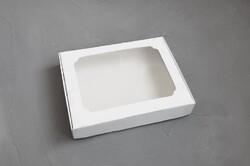 Коробка для пряників з віконцем 200х150х30 мм Біла