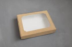 Коробка для пряників з віконцем 200х150х30 мм Крафт